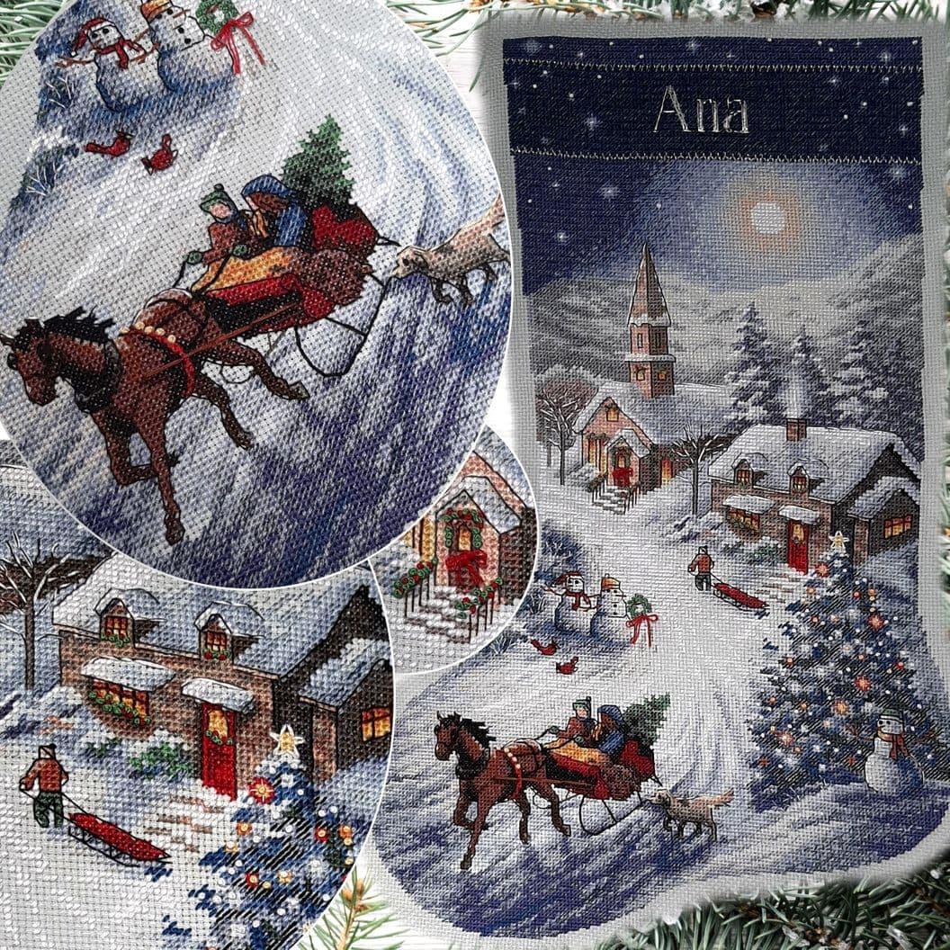 Вышивка крестом на заказ Рождественский сапожок