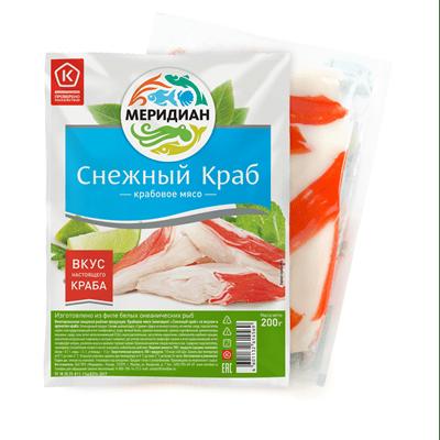 Купить КРАБОВОЕ МЯСО МЕРИДИАН 200 Г. Доставка продуктов Тюмень . Рыба Тюмень . Доставка продуктов в Тюмени