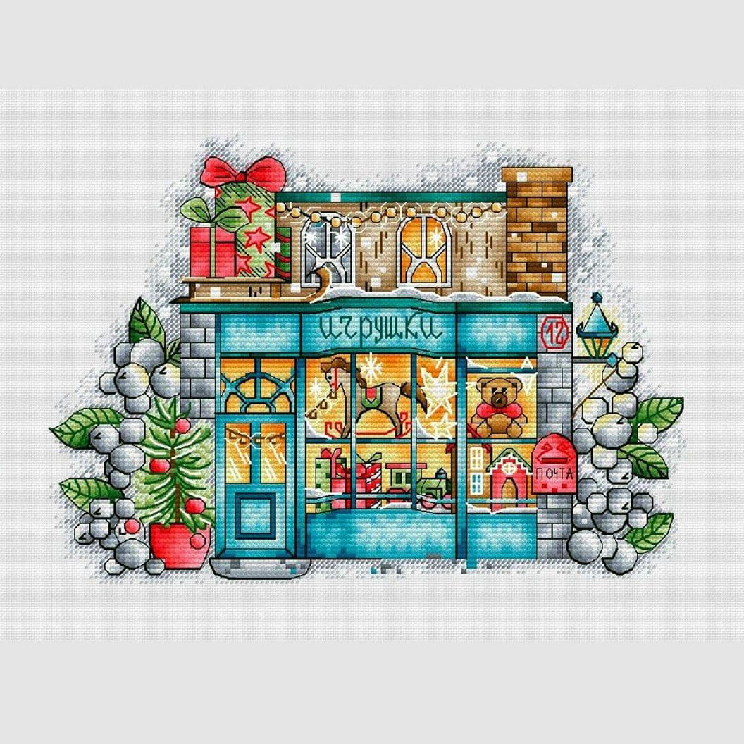 Вышивка крестом на заказ Рождество Магазин игрушек
