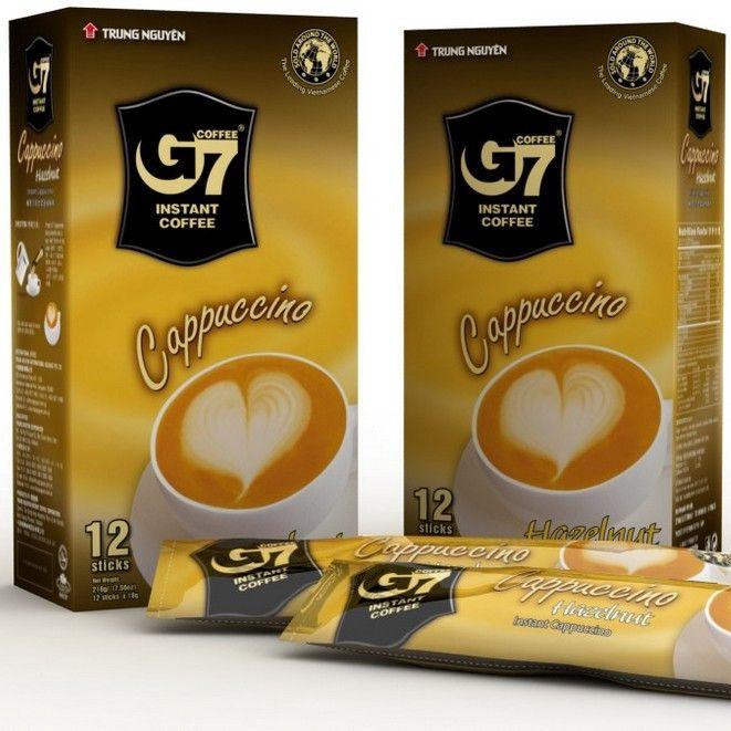 Купить Вьетнамский растворимый кофе 3 в 1 G7 Капучино Лесной орех (Hazelnut), 12 шт. Х 18 г