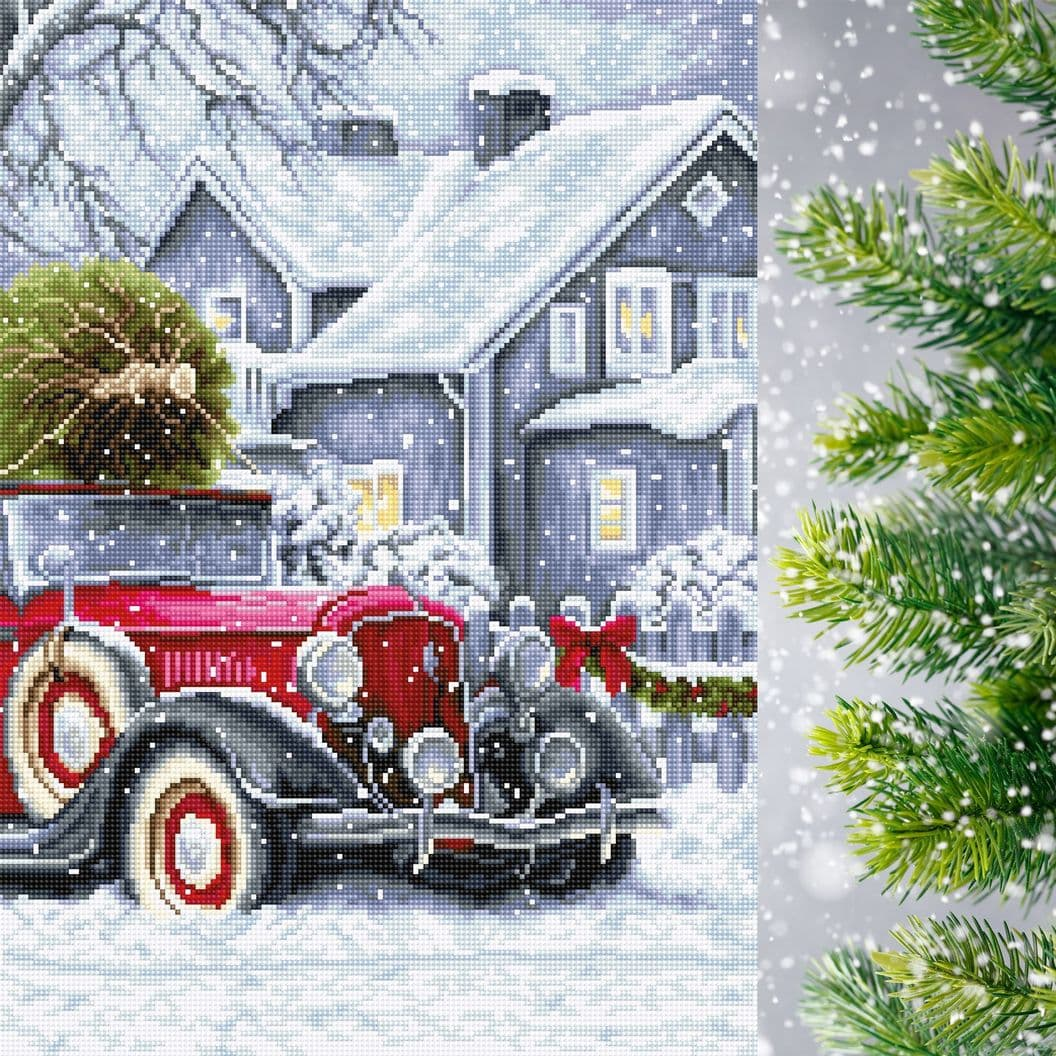 Вышивка крестом на заказ Рождество пейзаж Зимние праздники