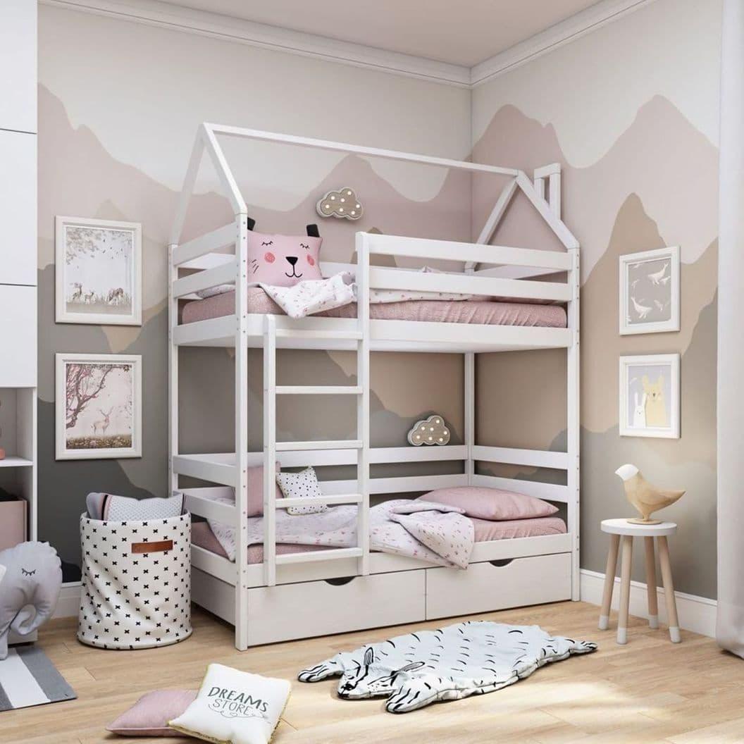Купить Кровать Массив 2хярусный с крышей арт. 005