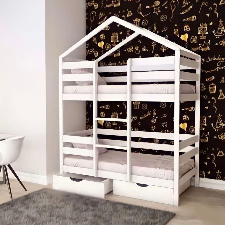 Купить Кровать Массив 2хярусная с крышей арт. 008