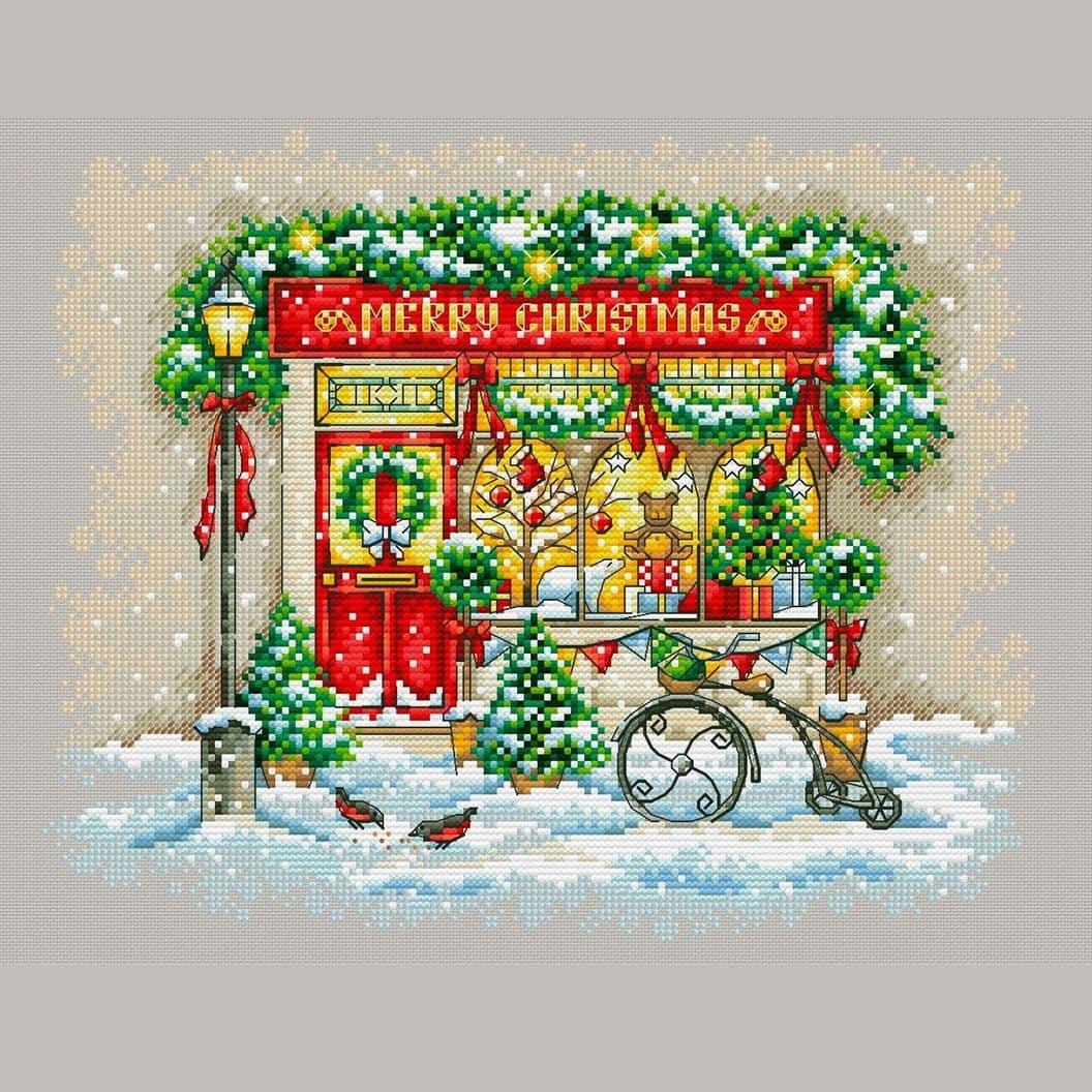 Вышивка крестом на заказ Рождественский магазинчик