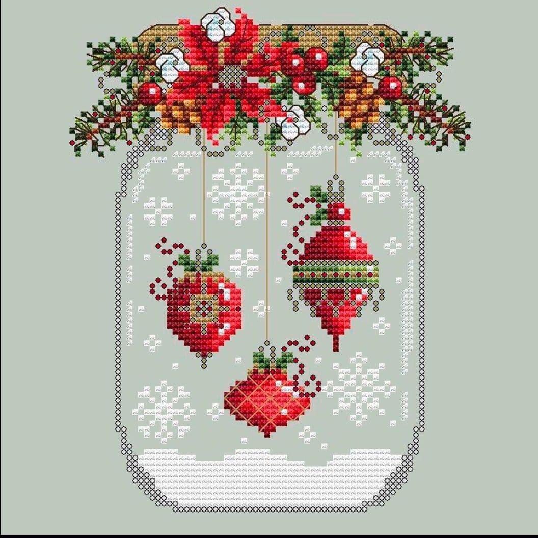 Вышивка крестом на заказ Рождество Снежный шар